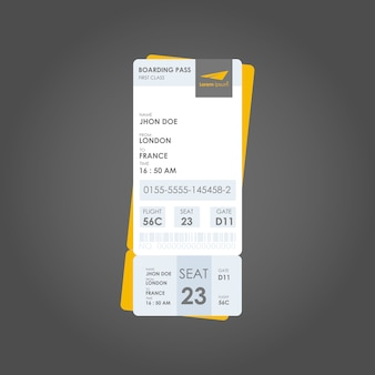 Verticale boarding pass template