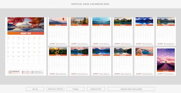 Verticale bureaukalender 2020