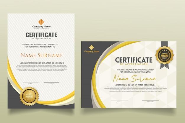 Verticale en horizontale moderne certificaatsjabloon met futuristische en dynamische textuur moderne achtergrond instellen.