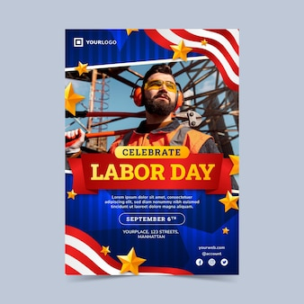 Verticale flyer-sjabloon met verlopende arbeidsdag met foto