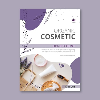 Verticale flyer-sjabloon voor cosmetische producten met lavendel