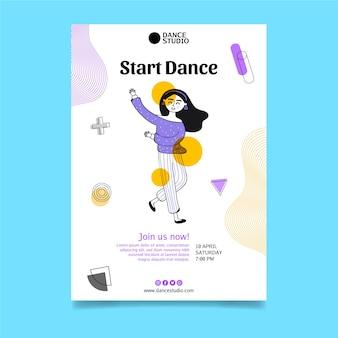 Verticale flyer-sjabloon voor danscursussen