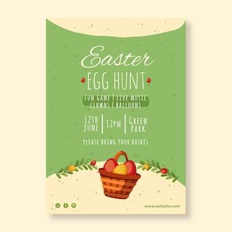Verticale flyer-sjabloon voor pasen met eieren zoeken
