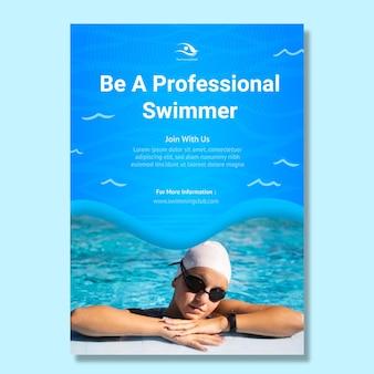 Verticale flyer-sjabloon voor zwemmen