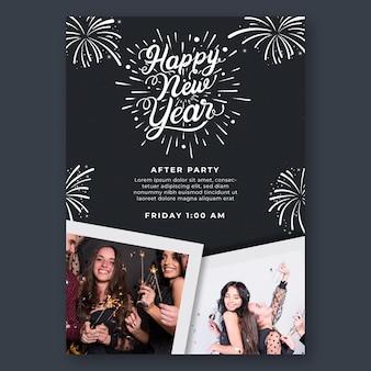 Verticale flyer voor nieuwjaarsfeest Premium Vector