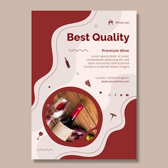 Verticale flyer voor wijn van de beste kwaliteit Gratis Vector