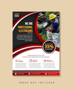 Verticale flyer want wij zijn professioneel elektriciens creatief concept voor reclamesjabloon