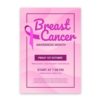 Verticale foldersjabloon met verloop borstkanker bewustzijn maand