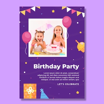 Verticale foldersjabloon voor kinderverjaardag
