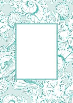 Verticale frame met schelpen.