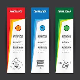 Verticale gekleurde banners pakken