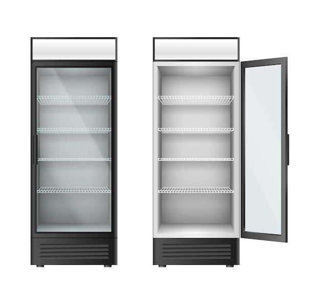 Verticale glazen koelkasten showcase voor drankjes en dranken. koelkasten met glazen deuren open of gesloten voor winkel, supermarkt of café interieur. 3d vectorillustratie