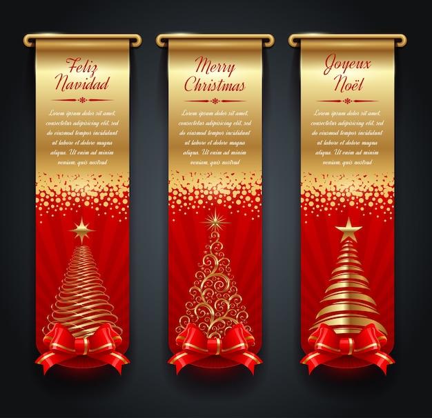 Verticale gouden banners met groeten, kerstbomen en strik.