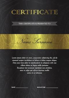 Verticale gouden certificaat en diplomamalplaatje. blanco van de kortingsbon.
