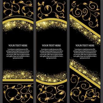 Verticale gouden glitter elegante banner