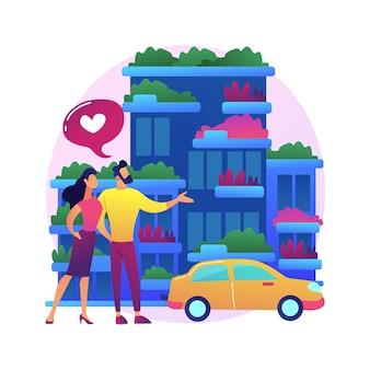 Verticale groene stad abstracte concept illustratie. luchtvervuiling tegen bouwen, ruimtebesparende eco-oplossing, verticaal bos, kosteneffectieve bouwinnovatie