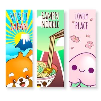 Verticale illustraties van japan van ramen noodle, voedsel en bergen