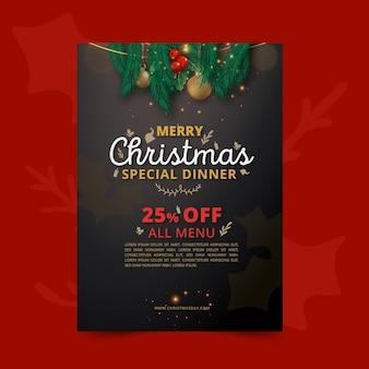 Verticale kerst flyer-sjabloon met speciale aanbieding