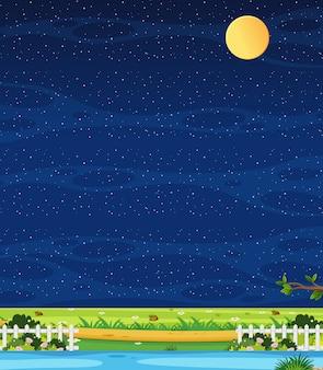 Verticale natuur scène of landschap platteland met uitzicht op de boerderij en lege hemel 's nachts