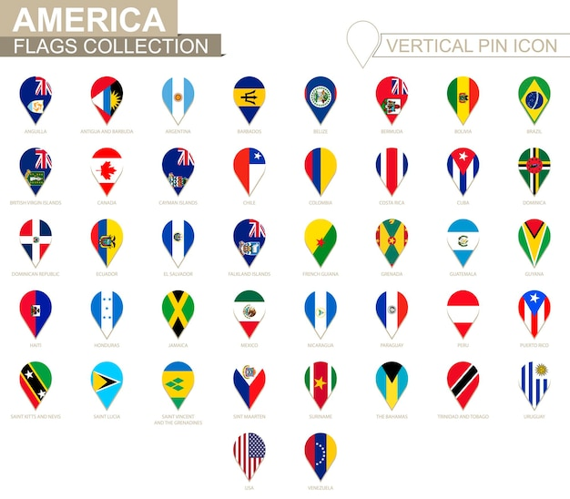 Verticale pin icoon, amerika vlag collectie.