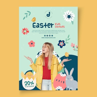 Verticale poster sjabloon voor pasen verkoop met meisje