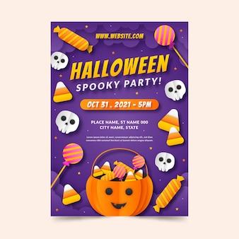 Verticale postersjabloon voor halloween-feest in papieren stijl