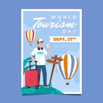 Verticale postersjabloon voor wereldtoerismedag