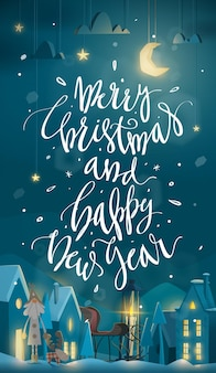 Verticale prettige kerstdagen en gelukkig nieuwjaar wenskaart voor wintervakantie