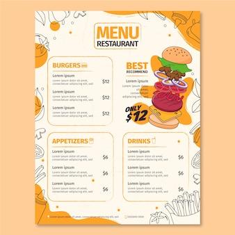Verticale restaurant menusjabloon