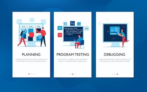 Verticale spandoeken met programmeurs die werk testen van illustratie plannen