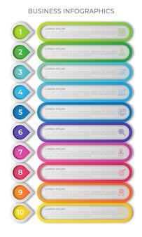 Verticale tijdlijn infographic sjabloon met 10 opties