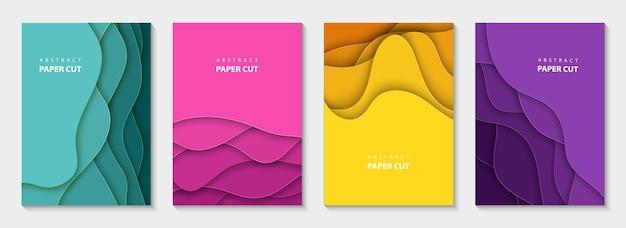 Verticale vector flyers met kleurrijke papier gesneden golven vormen 3d abstracte papier stijl ontwerp lay-out