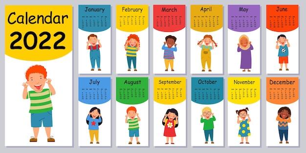 Verticale vector kalender ontwerpsjabloon voor 2022 plat ontwerp