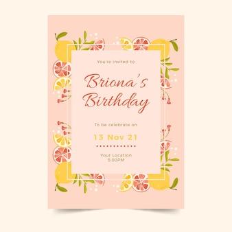 Verticale verjaardagsuitnodiging sjabloon met citrus
