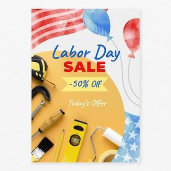 Verticale verkoop postersjabloon voor aquarel dag van de arbeid met foto