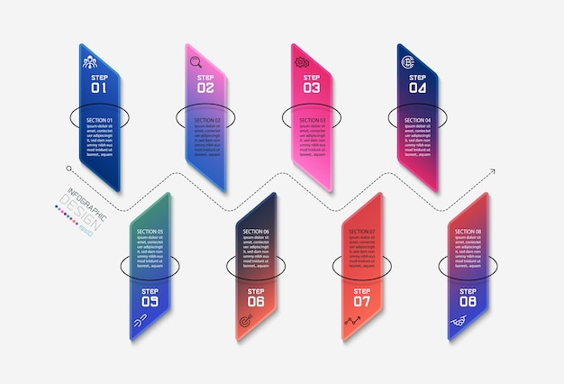 Verticale vierkante stappen om processen te presenteren en analyseren