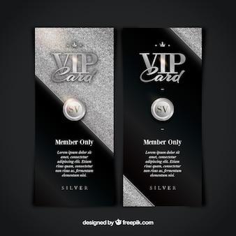 Verticale vip-kaarten met zilveren stijl