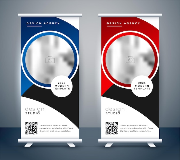 Verticale zakelijke roll-up banner ontwerpsjabloon