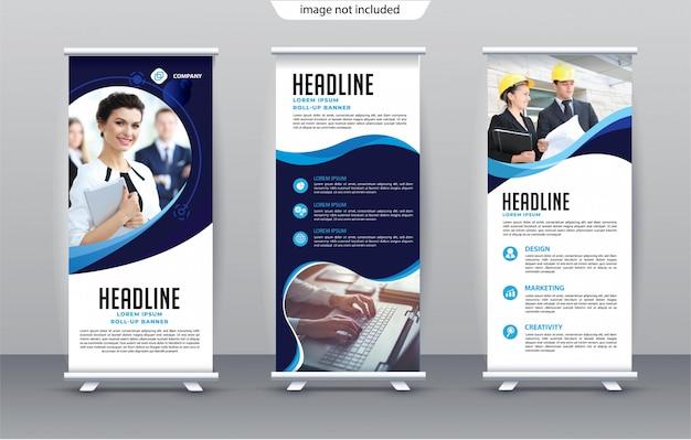 Verticale zakelijke roll-up banner sjabloon premium