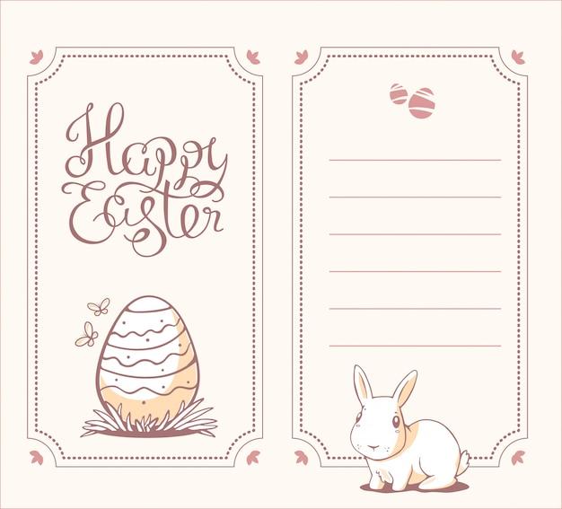Verticale zwart-wit kleur illustratie van happy easter-groeten met licht konijntje en ei op witte achtergrond.