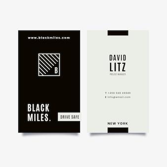 Verticale zwart-wit visitekaartjes collectie