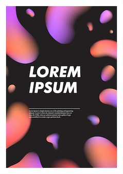 Verticale zwarte abstracte achtergrond met vloeibare heldere plasmadruppels.