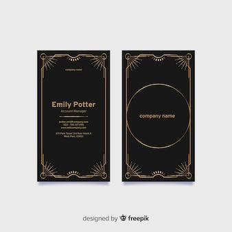 Verticale zwarte elegante visitekaartjesjabloon