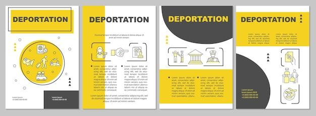 Vertrek brochure sjabloon. officiële verwijdering uit het land. flyer, boekje, folder afdrukken, omslagontwerp met lineaire pictogrammen. vectorlay-outs voor presentatie, jaarverslagen, advertentiepagina's
