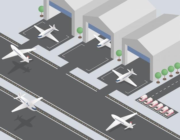 Vertrekkende, aankomende vliegtuigen isometrische vectorillustratie
