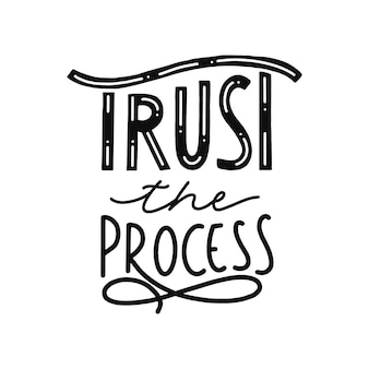 Vertrouw op het proces hand belettering offerte
