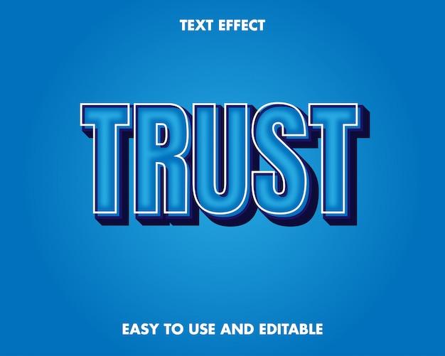 Vertrouw op teksteffect. bewerkbaar teksteffect en gemakkelijk te gebruiken. premium vectorillustratie