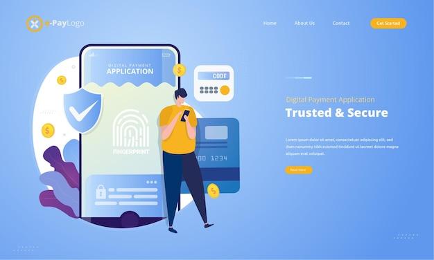 Vertrouwde en veilige digitale betalingsapplicatie met illustratieconcept voor toegangsrechten