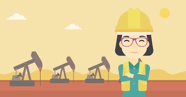 Vertrouwen in olie werker vectorillustratie.