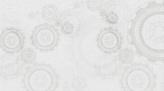 Vervagen digitale technologie gears wiel en pik op witte circuit lijn achtergrond